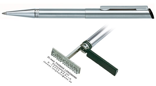 Heri Diagonal Stainless Steel, kuličkové pero s razítkem