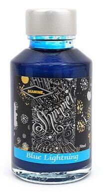 Diamine Shimmer Blue Lightning 50 ml, lahvičkový inkoust